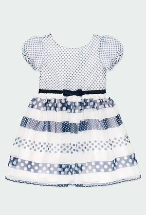 Vestido de tejido fantasía topos de niña_1