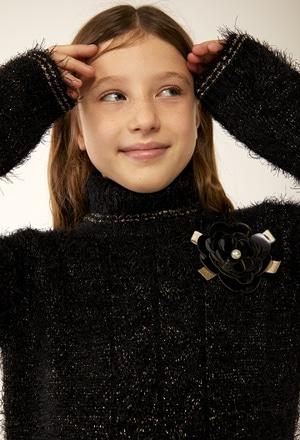 Vestido tricotosa cuello cisne de niña_1