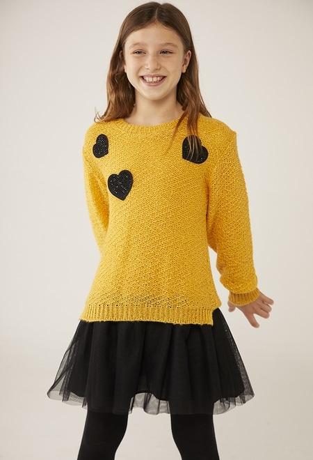Vestido tricot corações para menina_1