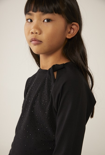 T-Shirt tricot petits cristaux pour fille_1
