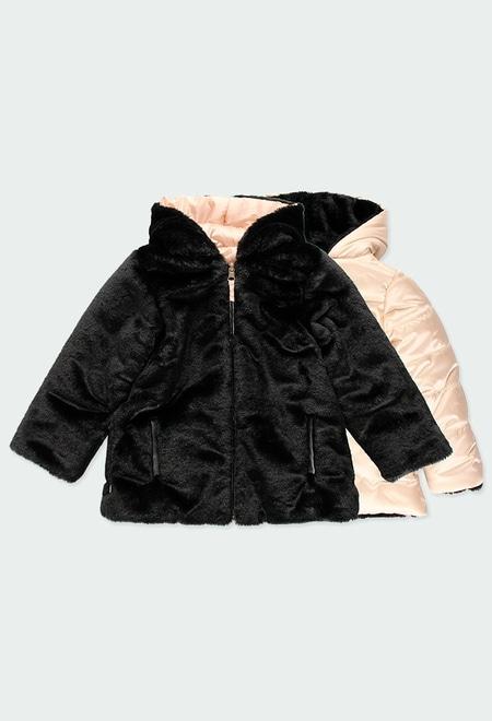 Manteau simili fourrure reversible pour fille_1