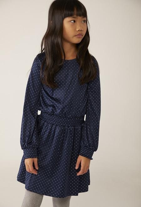 Knit dress polka dot for girl_1