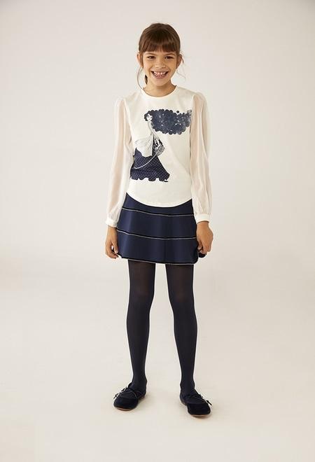 """T-Shirt tricot """"fille et chien"""" pour fille_1"""