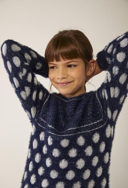 Vestido tricot bolinhas lurex para menina_1