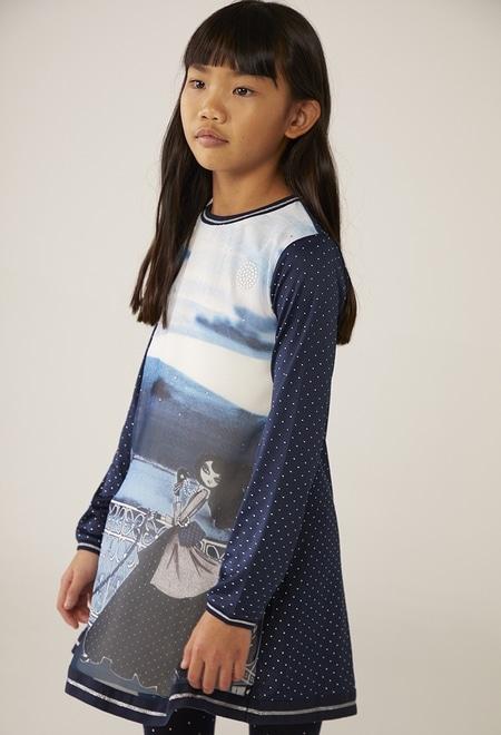 Kleid gestrickt kombiniert polkatüpfel für mädchen_1