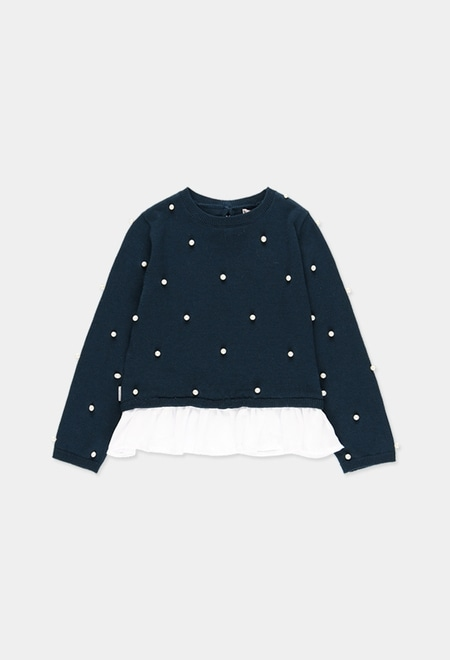 Knitwear combined pullover for girl_1