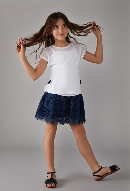 Vestido gasa combinado para menina_1