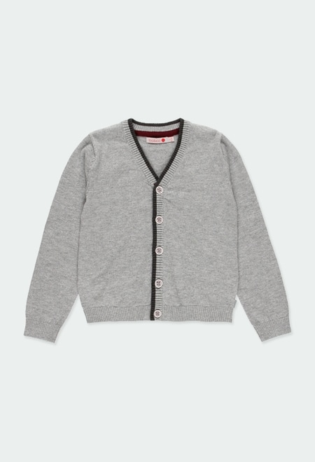 Knitwear jacket with elbow patches for boy_1