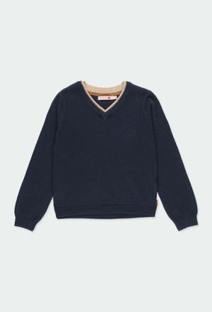 Pullover tricot com cotoveleiras para menino_1