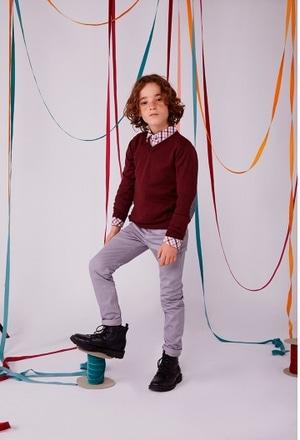 Strick pullover mit ellenbogenpatches für junge_1