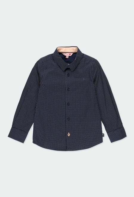 Poplin shirt with elbow patches for boy_1