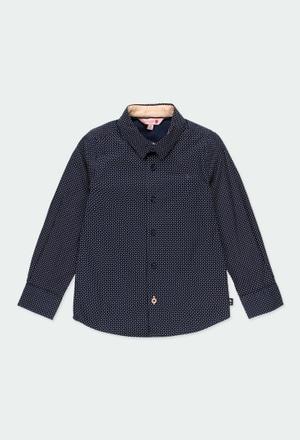 Hemd popelin mit ellenbogenpatches für junge_1