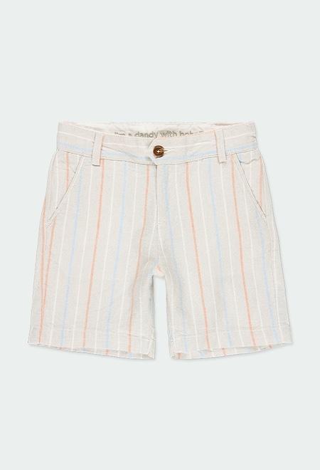 Linen bermuda shorts striped for boy_1