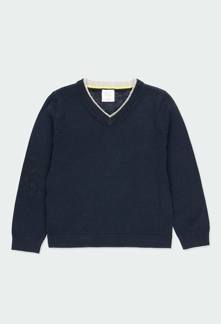 Knitwear pullover with elbow patches for boy_1