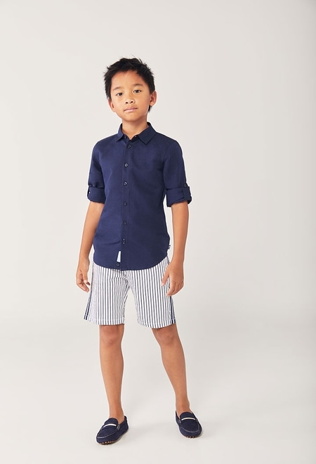 Satin bermuda shorts striped for boy_1