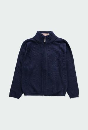 Giacchetta tricot con gomitiera per ragazzo_1