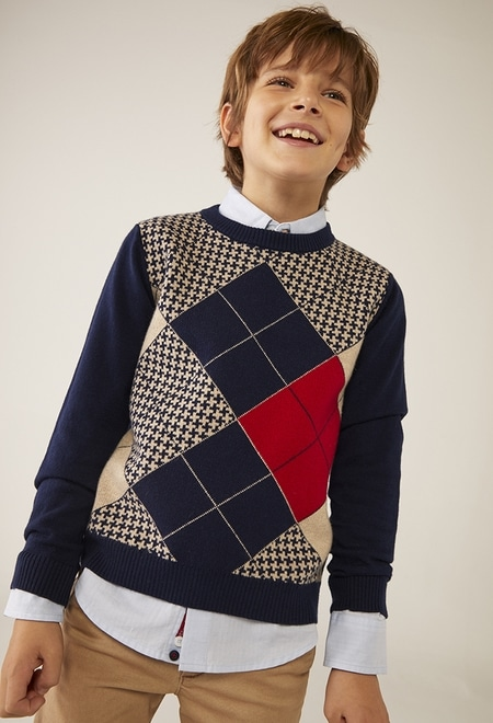 Strick pullover rhombus für junge_1