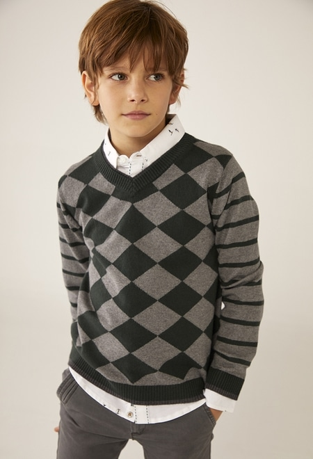Pullover tricot diamantes para menino_1