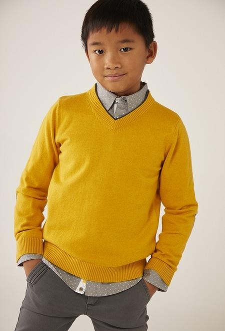 Pullover tricot pescoço em v para menino_1