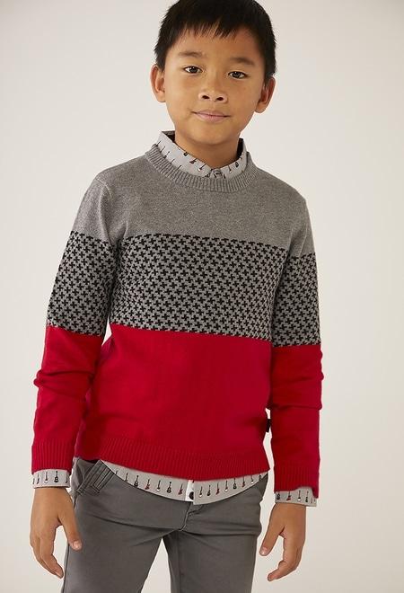 Jersey tricotosa tricolor de niño_1