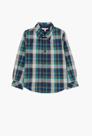 Poplin shirt check for boy_1