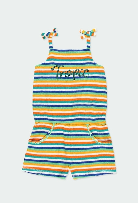 Towelling jumpsuit striped for girl_1