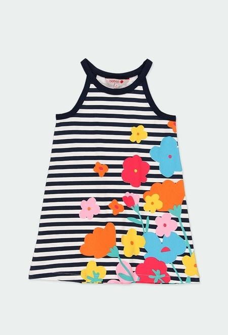 Vestido punto flores y rayas de niña_1