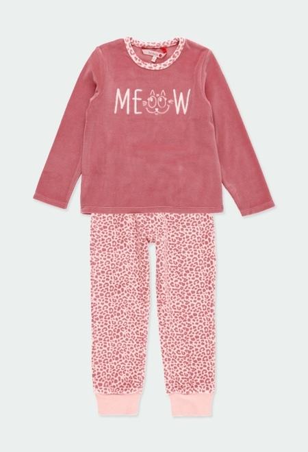 Pijama terciopelo animal print de niña_1