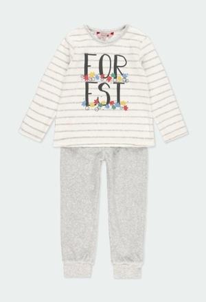 Pyjama en velours à rayures pour fille_1