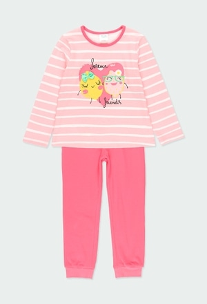 """Pijama malha """"coração"""" para menina_1"""