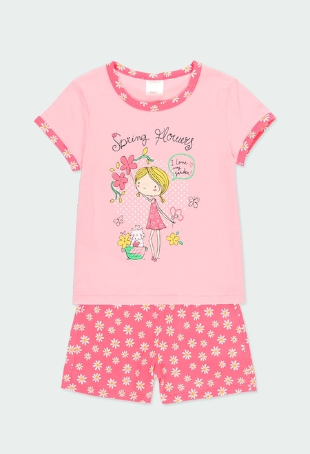 "Knit pyjamas ""floral"" for girl_1"