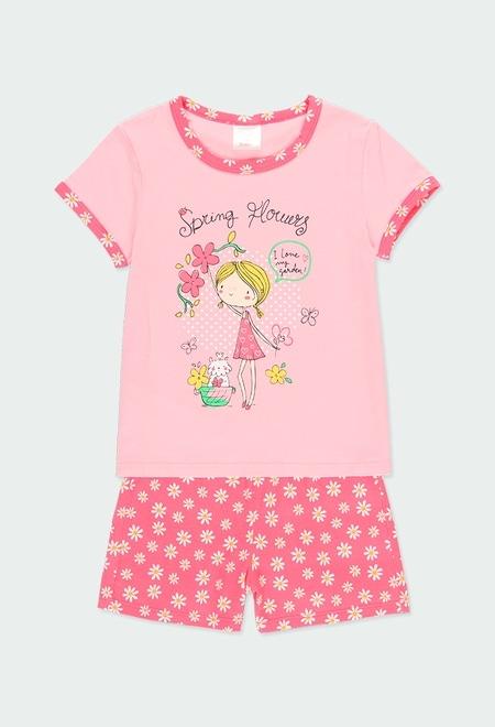 "Knit pyjamas ""floral"" for girl_1"