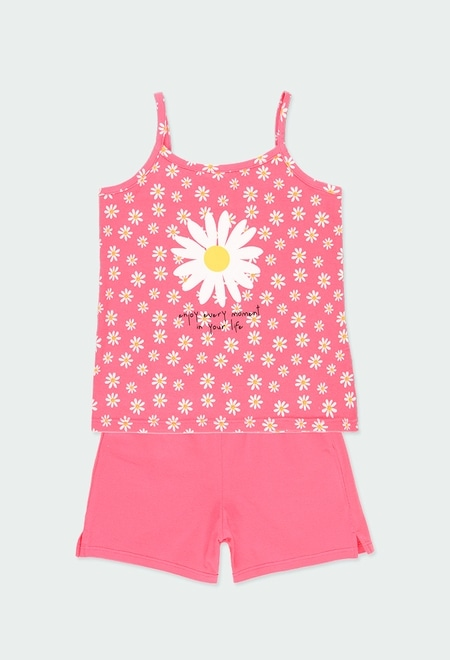 Pyjama en tricot à bretelles pour fille_1