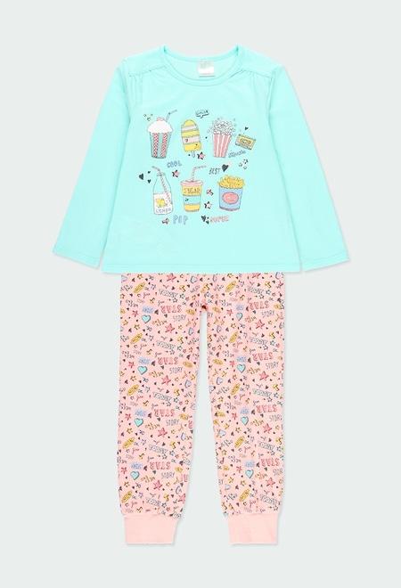 Schlafanzug gestrickt lange ärmel für mädchen_1
