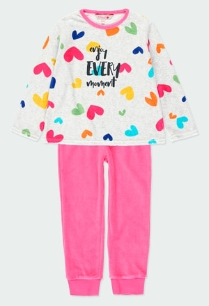 Pijama terciopelo corazones de niña_1