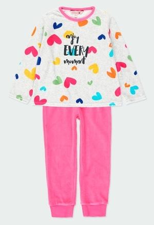 Pijama veludo corações para menina_1