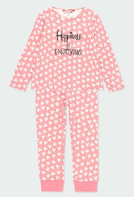 Pijama interlock corazones de niña_1