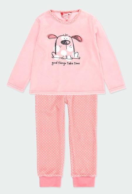 Schlafanzug velour polkatüpfel für mädchen_1