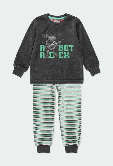 Pyjama en velours à rayures pour garçon_1