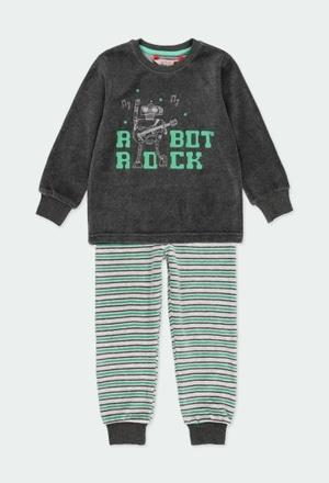 Schlafanzug velour gestreift für junge_1