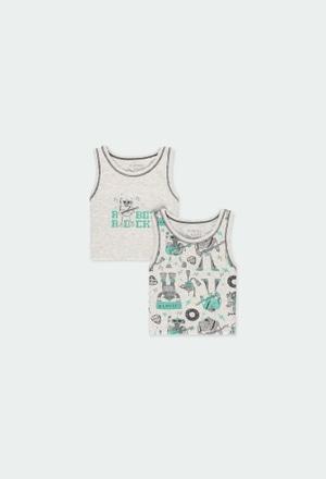 Pack 2 t-Shirts hosenträger für junge_1