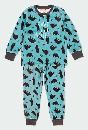 """Pijama veludo """"ursos"""" para menino_1"""