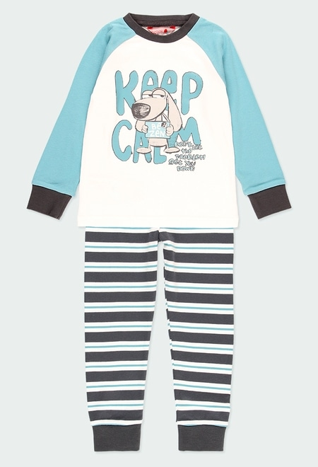 Pijama interlock às riscas para menino_1