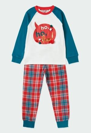 Pyjama en tricot bi matiere a carreaux_1
